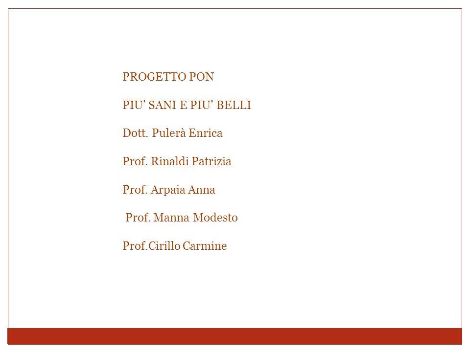 PROGETTO PON PIU' SANI E PIU' BELLI Dott. Pulerà Enrica Prof