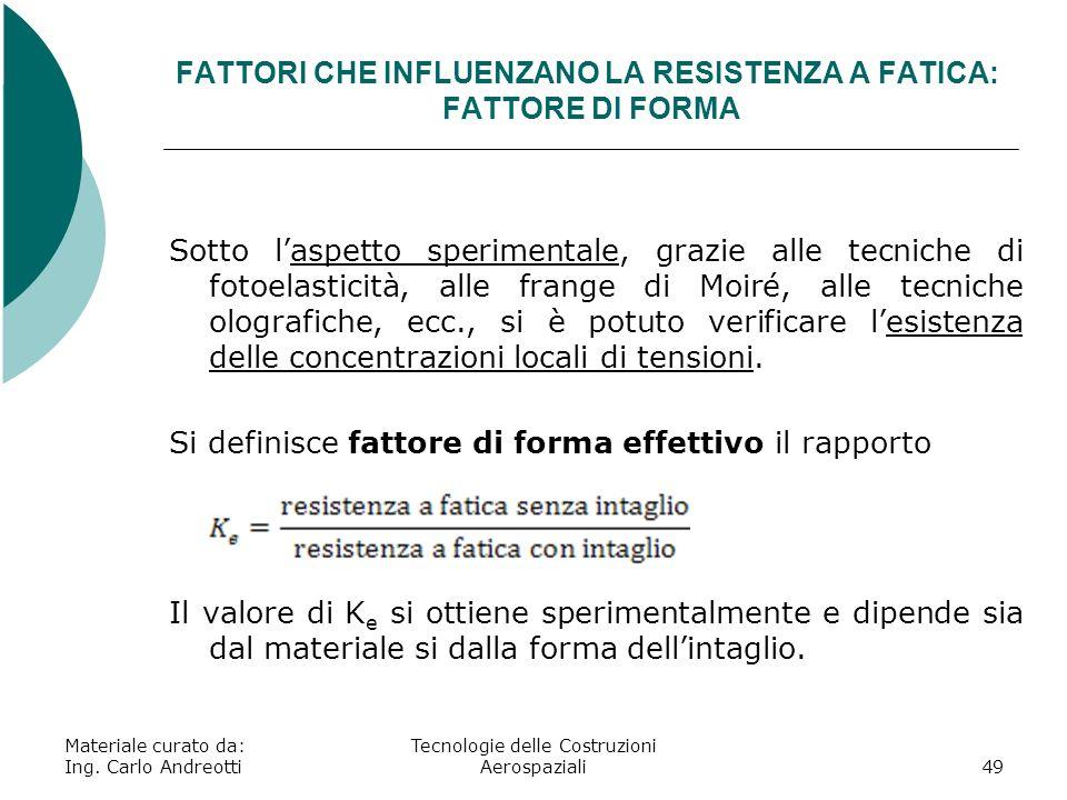 FATTORI CHE INFLUENZANO LA RESISTENZA A FATICA: FATTORE DI FORMA