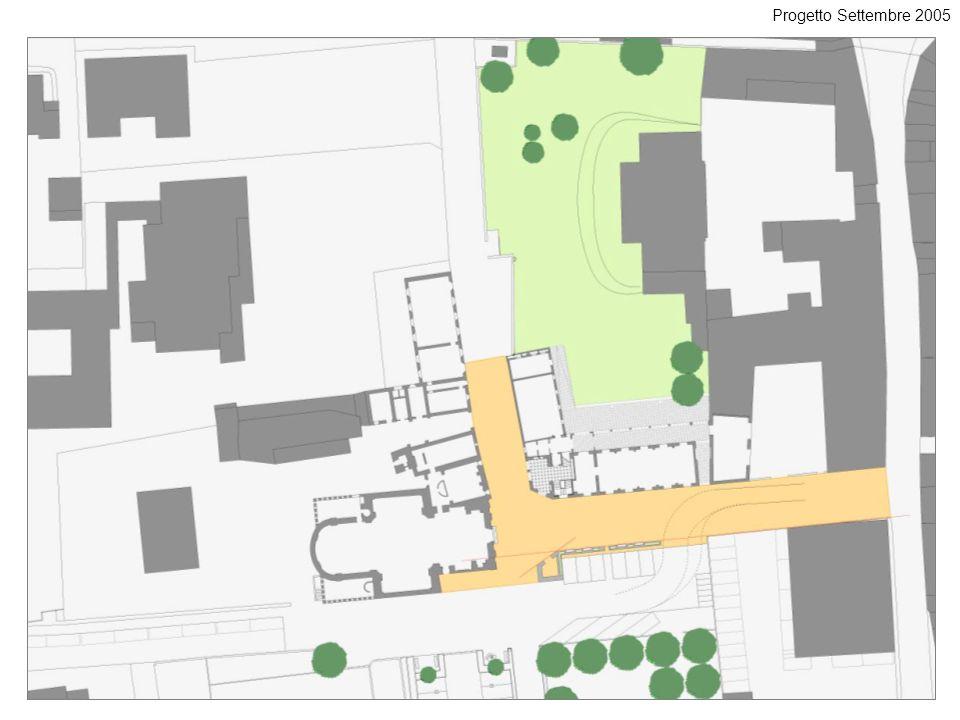 Progetto Settembre 2005 Questo disegno mostra l'area che si intende pavimentare e quella che sarà destinata a giardino.