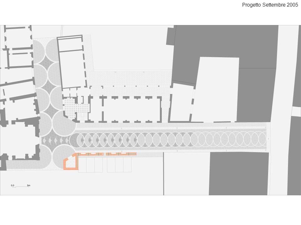 Progetto Settembre 2005 Nuova pavimentazione con il muro che definirà l'invaso della piazza