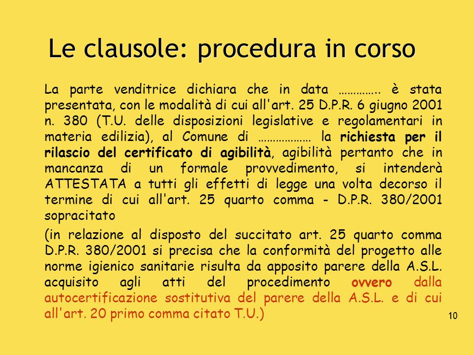 Le clausole: procedura in corso