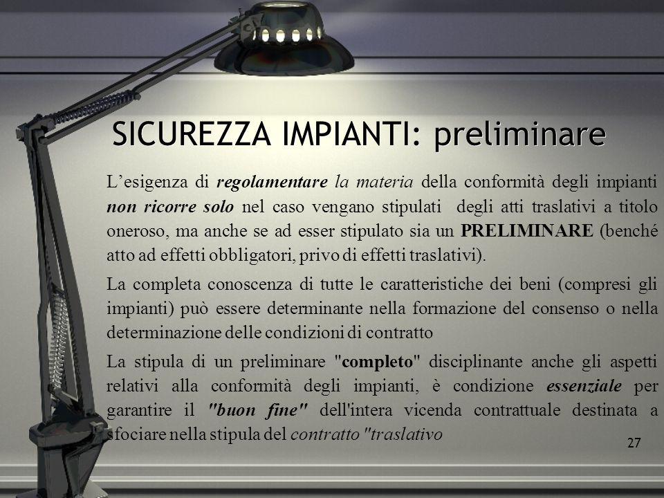 SICUREZZA IMPIANTI: preliminare