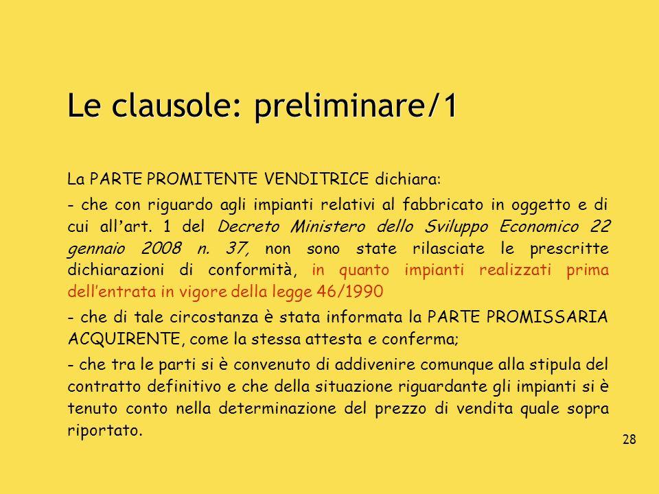 Le clausole: preliminare/1