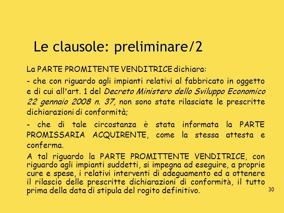 Le clausole: preliminare/2