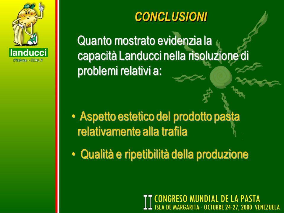 CONCLUSIONI Quanto mostrato evidenzia la capacità Landucci nella risoluzione di problemi relativi a: