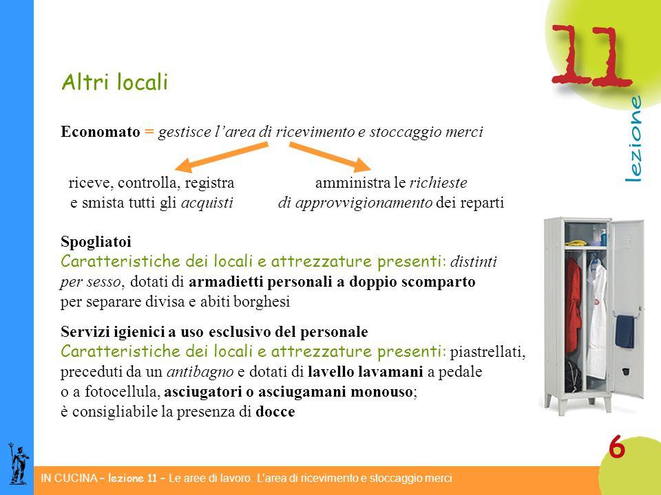 Altri locali Economato = gestisce l'area di ricevimento e stoccaggio merci. riceve, controlla, registra amministra le richieste.
