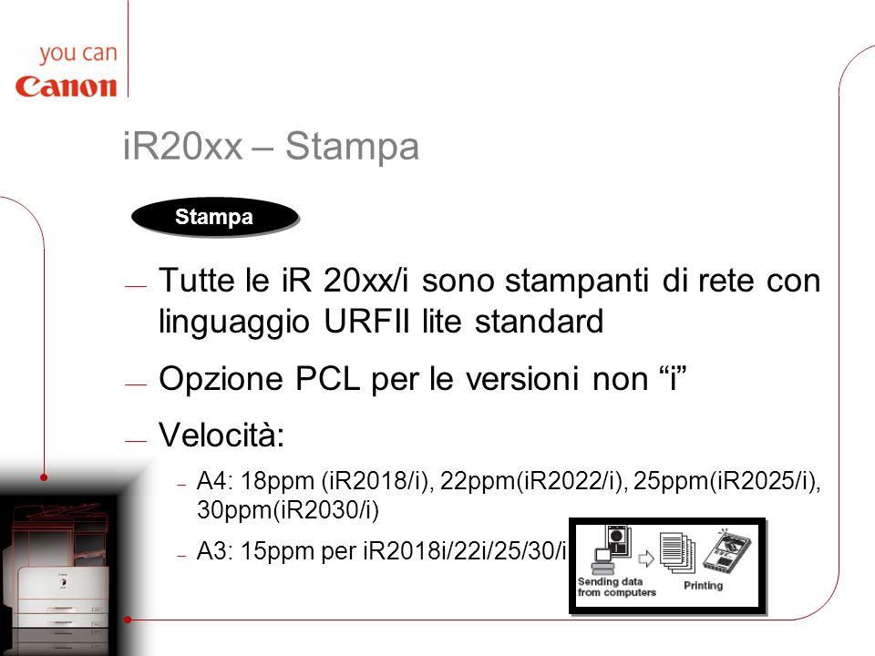iR20xx – Stampa Tutte le iR 20xx/i sono stampanti di rete con linguaggio URFII lite standard. Opzione PCL per le versioni non i