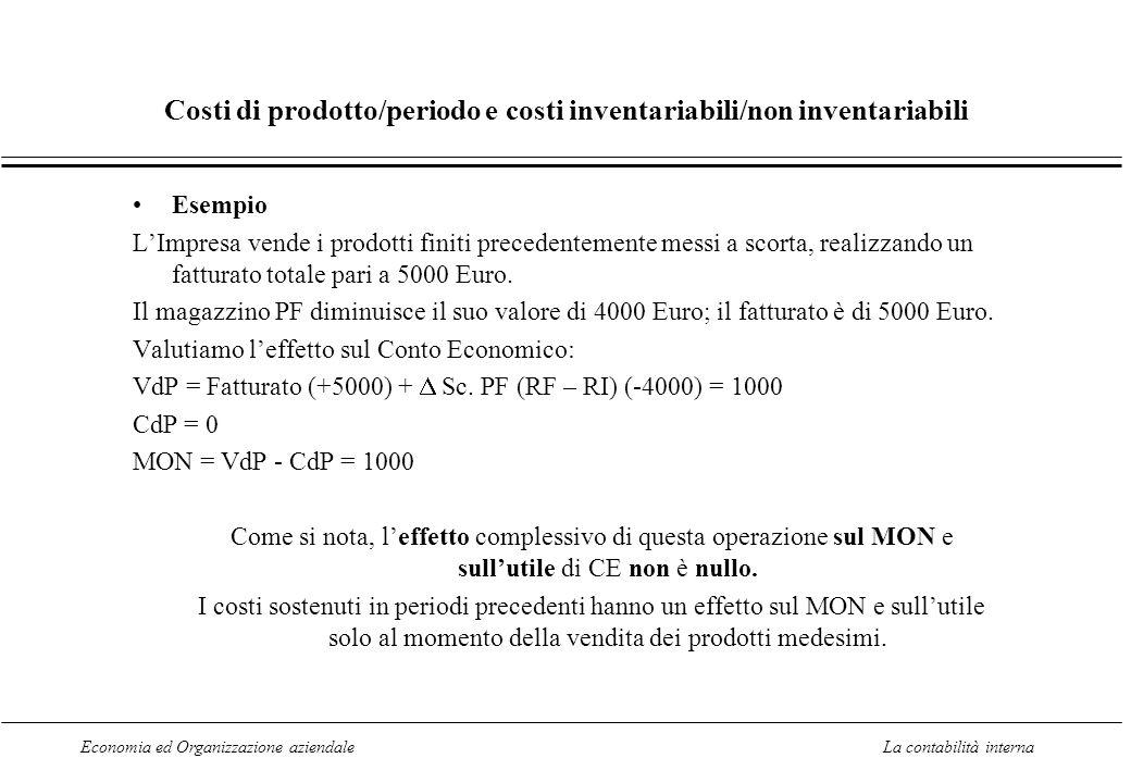 Costi di prodotto/periodo e costi inventariabili/non inventariabili