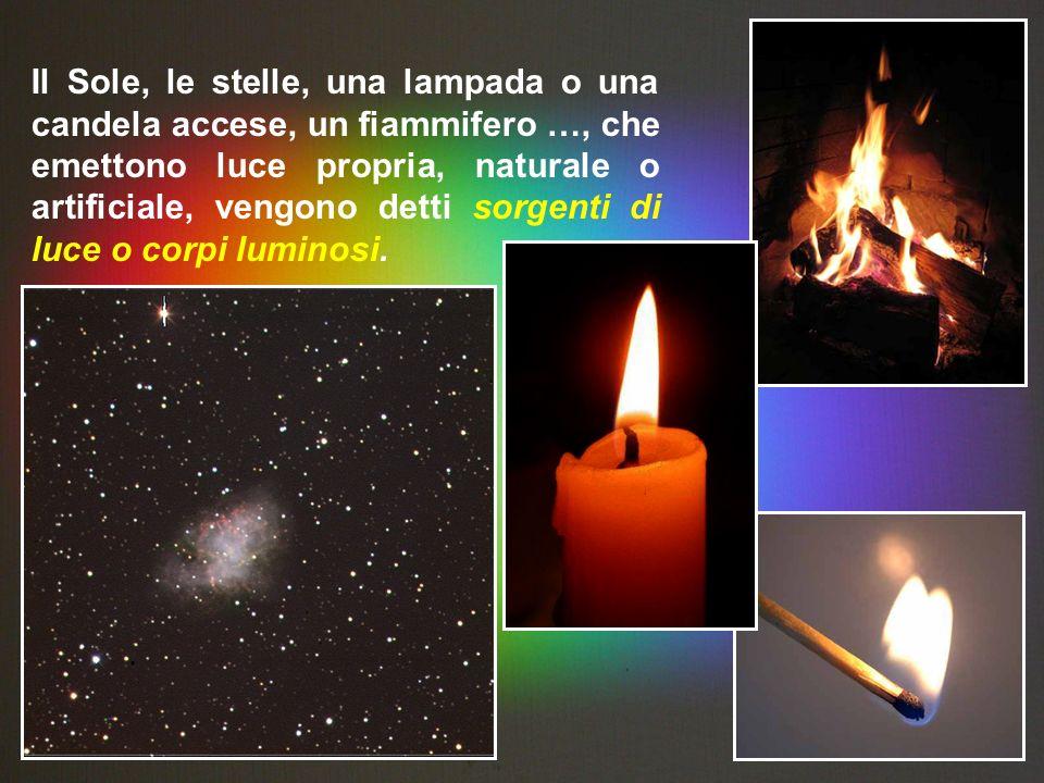 Il Sole, le stelle, una lampada o una candela accese, un fiammifero …, che emettono luce propria, naturale o artificiale, vengono detti sorgenti di luce o corpi luminosi.