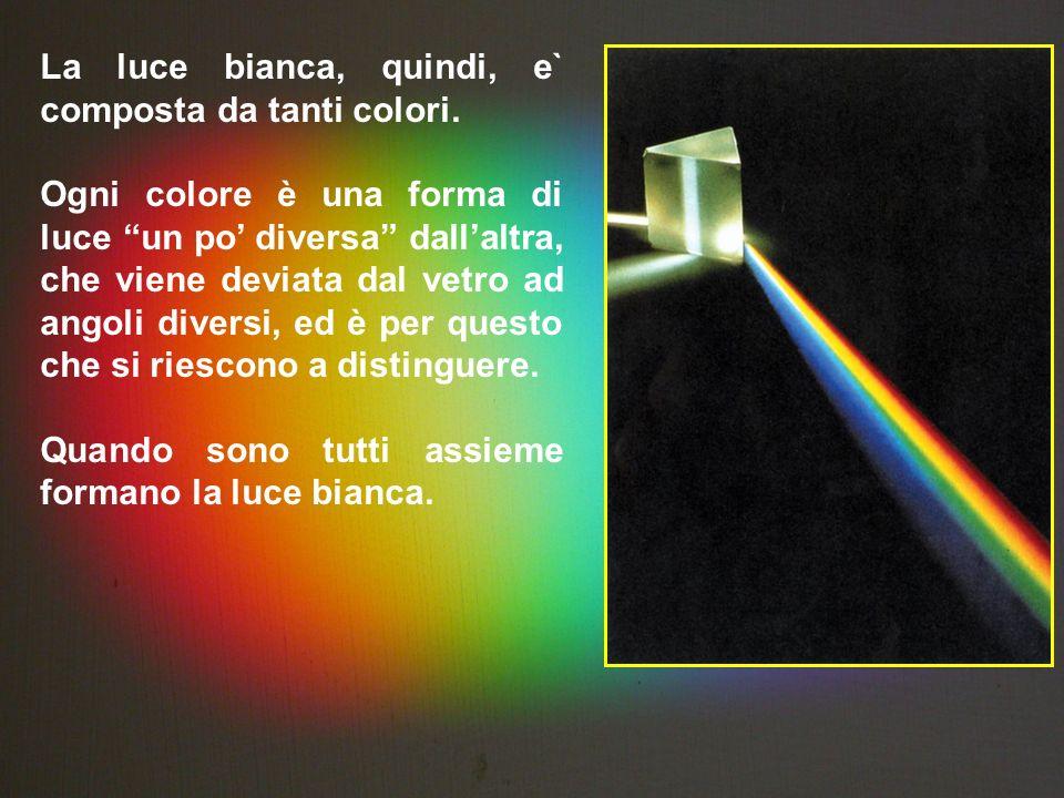 La luce bianca, quindi, e` composta da tanti colori.