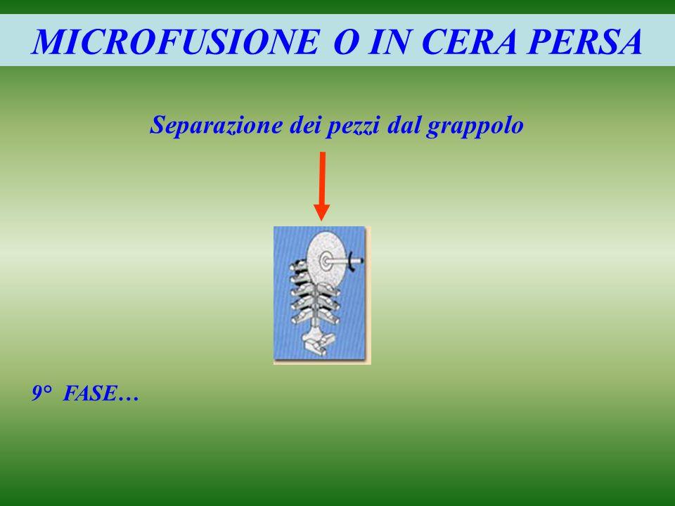 MICROFUSIONE O IN CERA PERSA Separazione dei pezzi dal grappolo