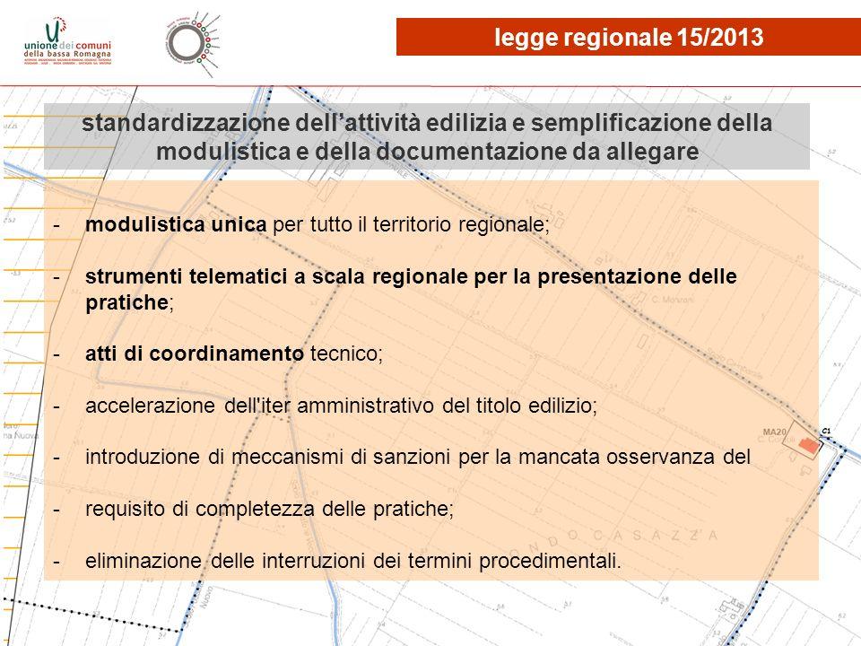 legge regionale 15/2013 standardizzazione dell'attività edilizia e semplificazione della modulistica e della documentazione da allegare.