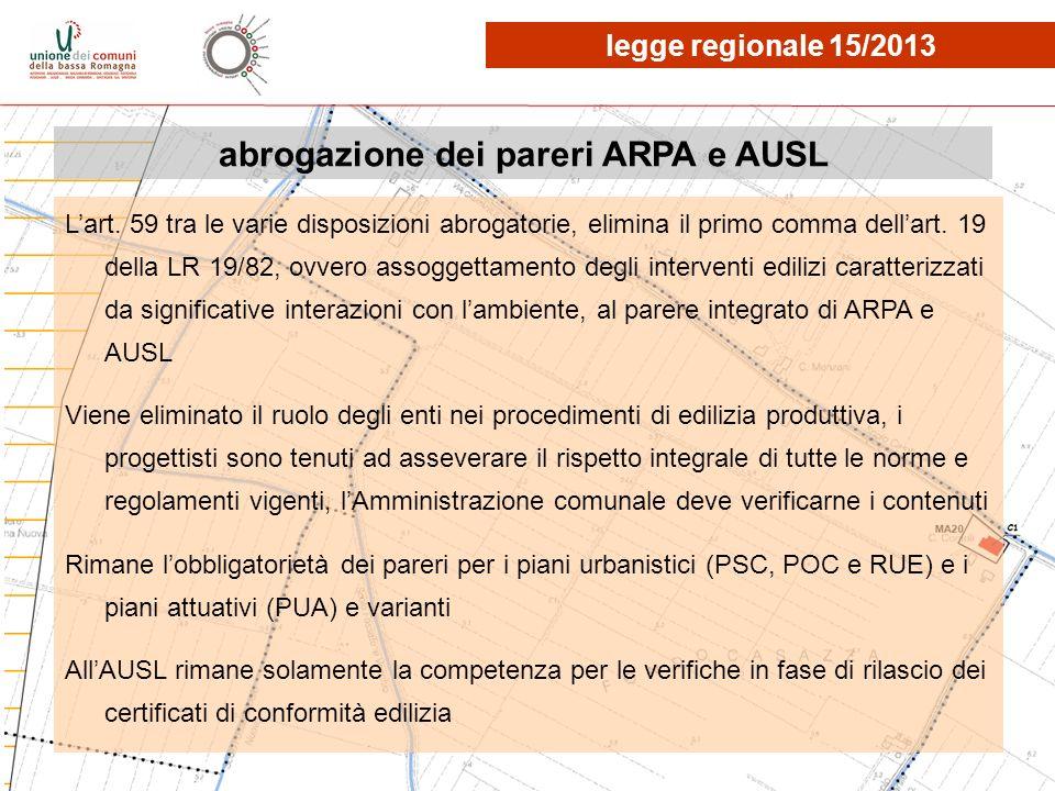 abrogazione dei pareri ARPA e AUSL