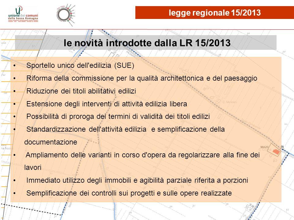 le novità introdotte dalla LR 15/2013