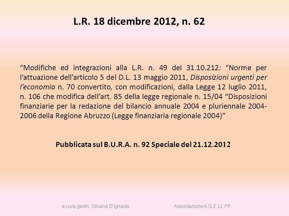 Pubblicata sul B.U.R.A. n. 92 Speciale del 21.12.2012
