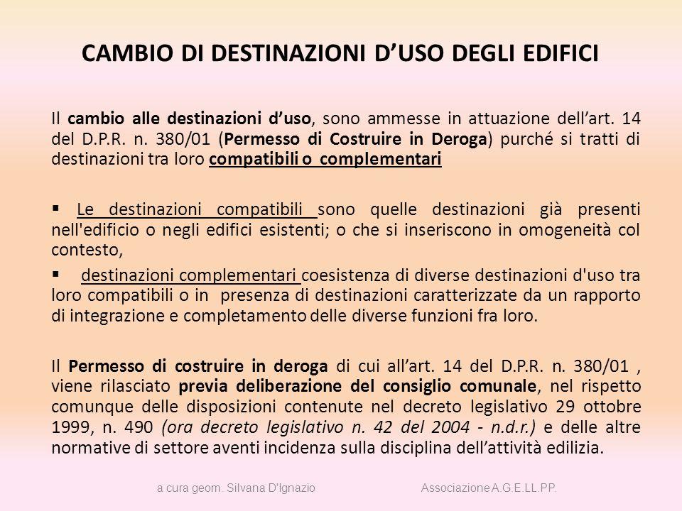 CAMBIO DI DESTINAZIONI D'USO DEGLI EDIFICI