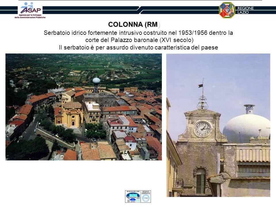 COLONNA (RM)Serbatoio idrico fortemente intrusivo costruito nel 1953/1956 dentro la. corte del Palazzo baronale (XVI secolo)