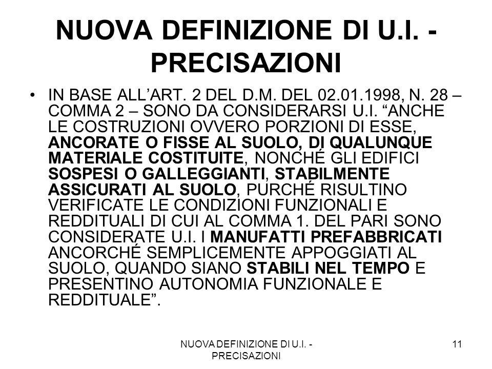 NUOVA DEFINIZIONE DI U.I. - PRECISAZIONI