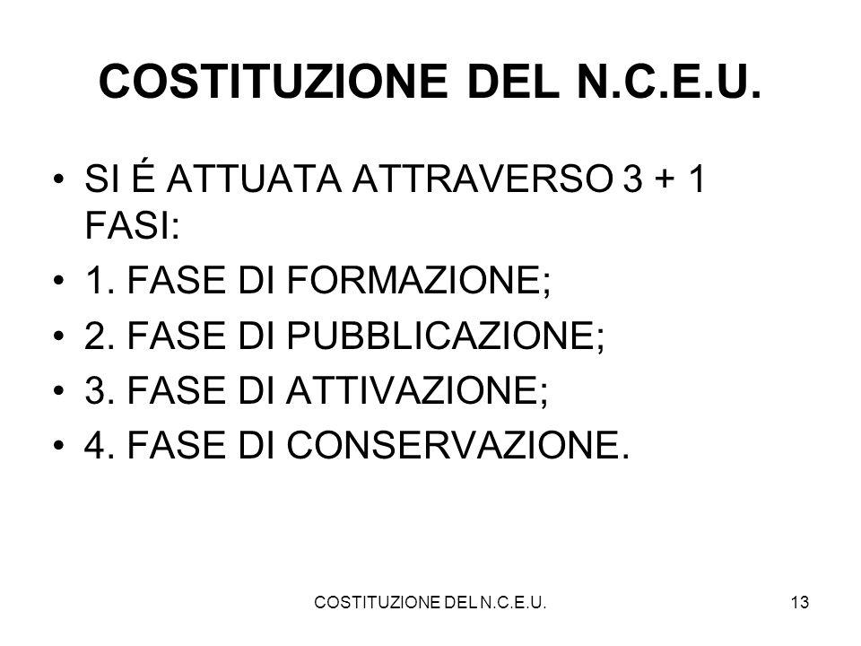 COSTITUZIONE DEL N.C.E.U. SI É ATTUATA ATTRAVERSO 3 + 1 FASI: