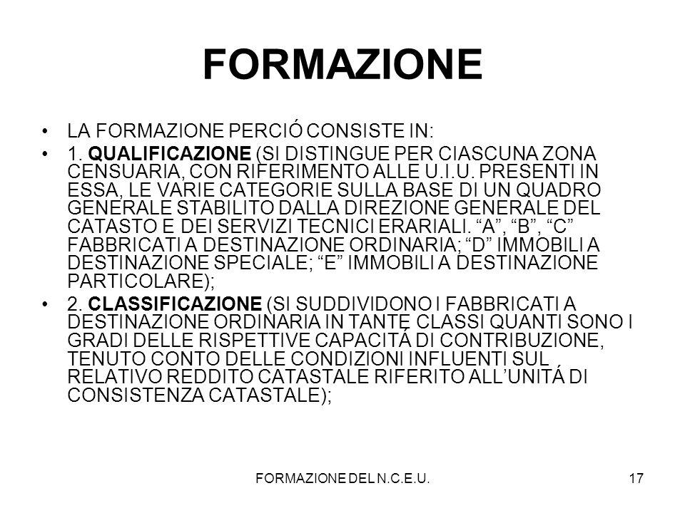 FORMAZIONE LA FORMAZIONE PERCIÓ CONSISTE IN: