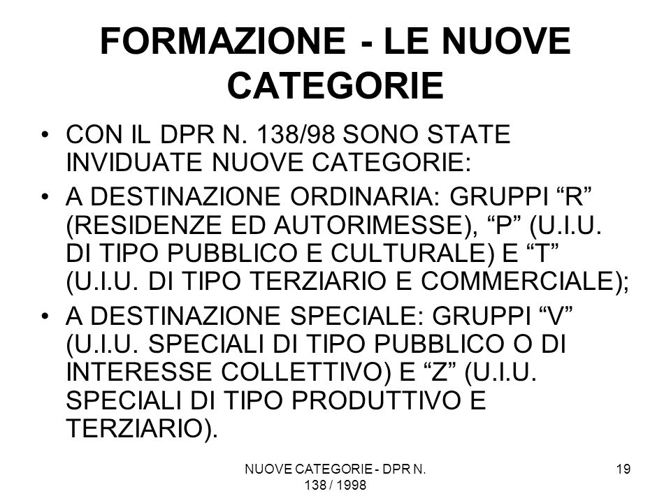 FORMAZIONE - LE NUOVE CATEGORIE