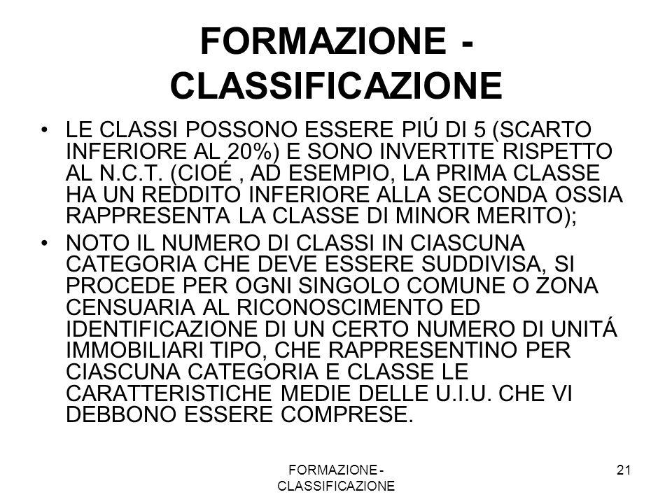 FORMAZIONE - CLASSIFICAZIONE