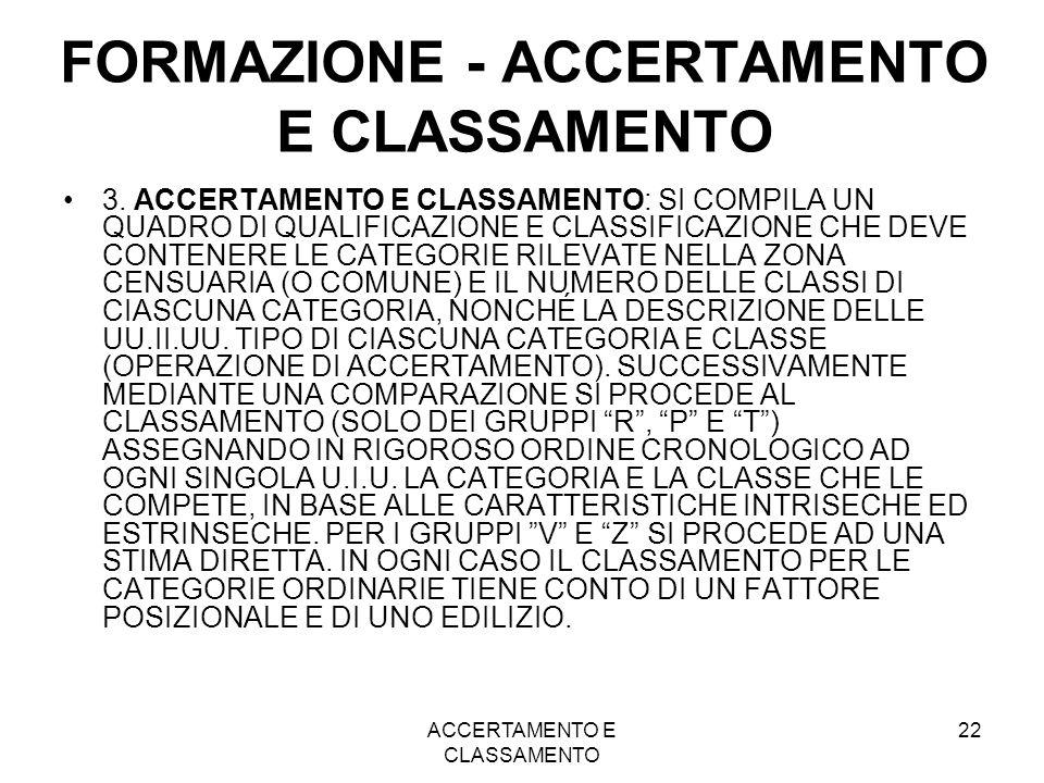 FORMAZIONE - ACCERTAMENTO E CLASSAMENTO