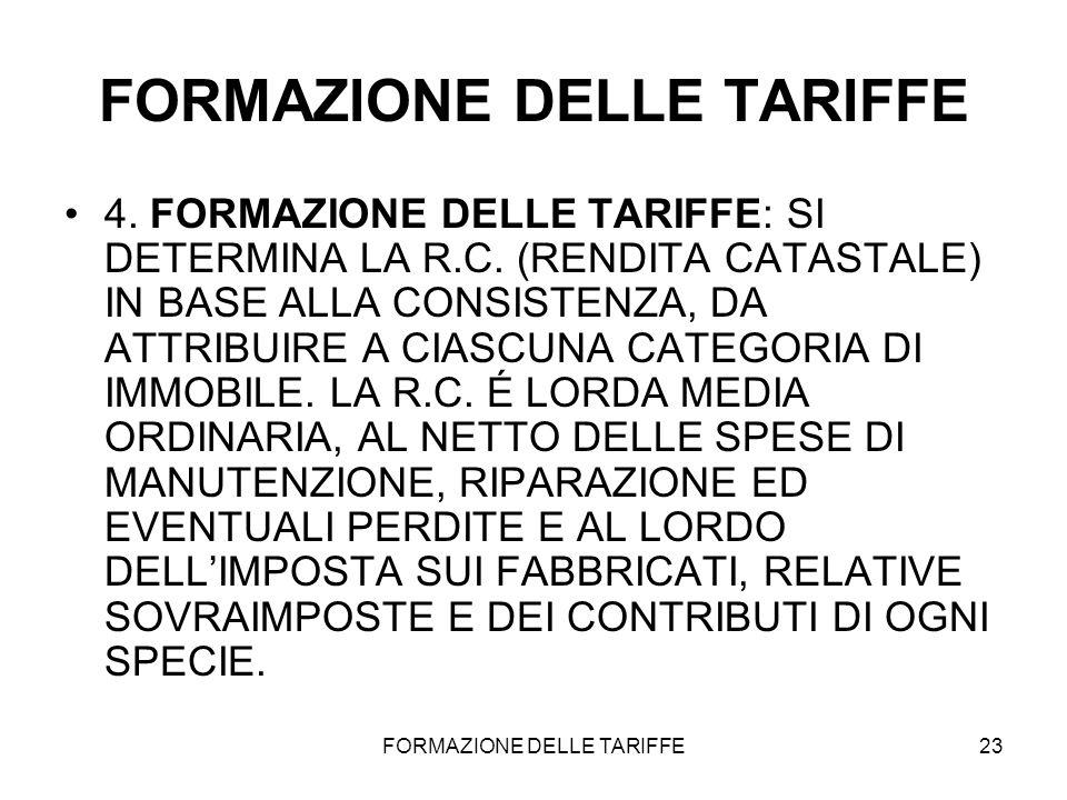 FORMAZIONE DELLE TARIFFE