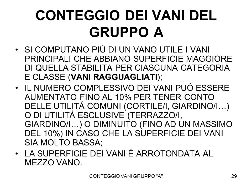 CONTEGGIO DEI VANI DEL GRUPPO A