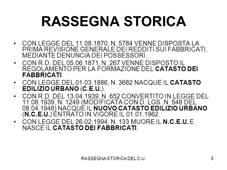 RASSEGNA STORICA DEL C.U.