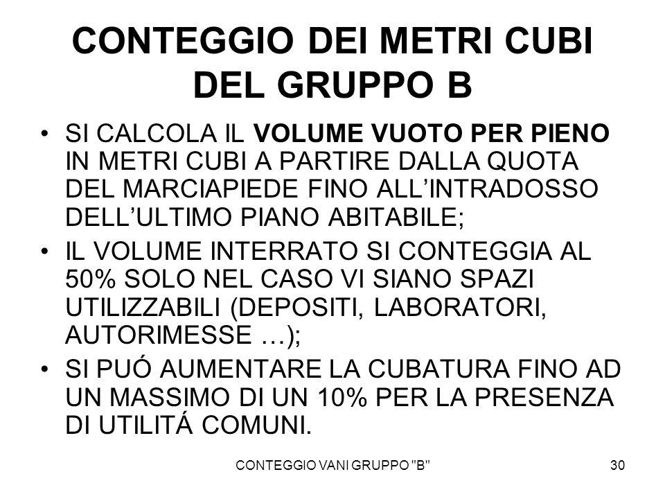 CONTEGGIO DEI METRI CUBI DEL GRUPPO B