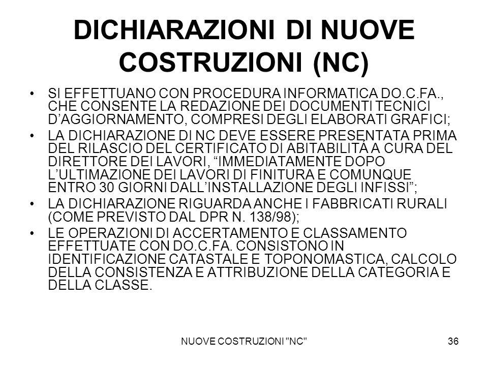 DICHIARAZIONI DI NUOVE COSTRUZIONI (NC)