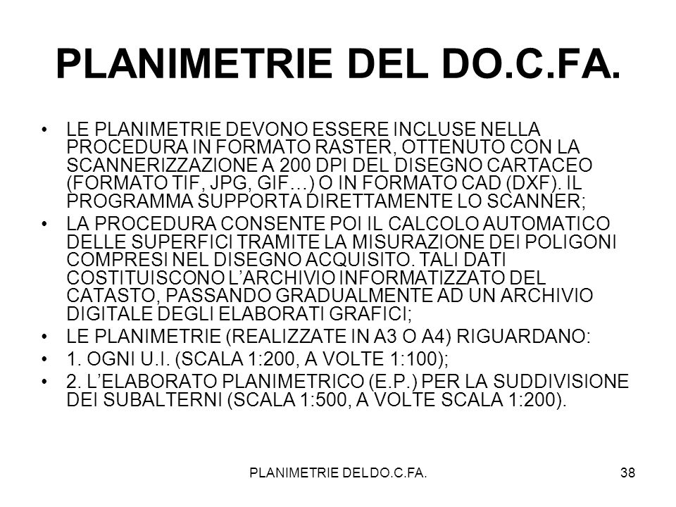 PLANIMETRIE DEL DO.C.FA.