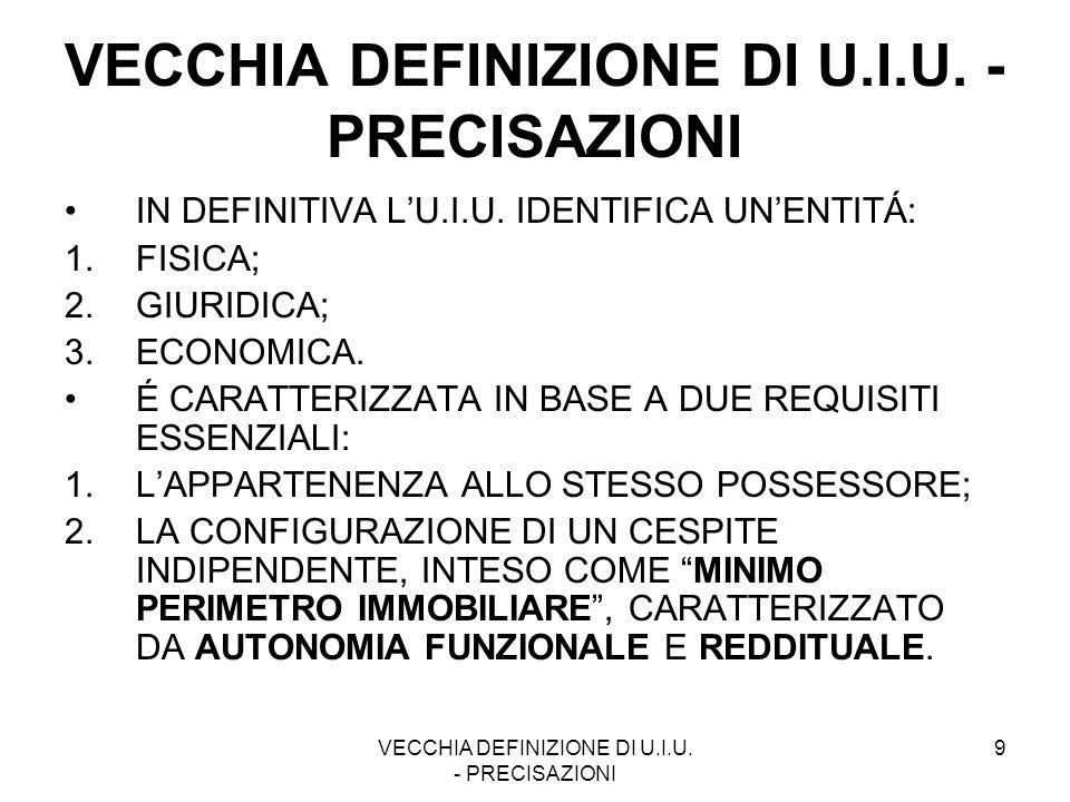 VECCHIA DEFINIZIONE DI U.I.U. - PRECISAZIONI
