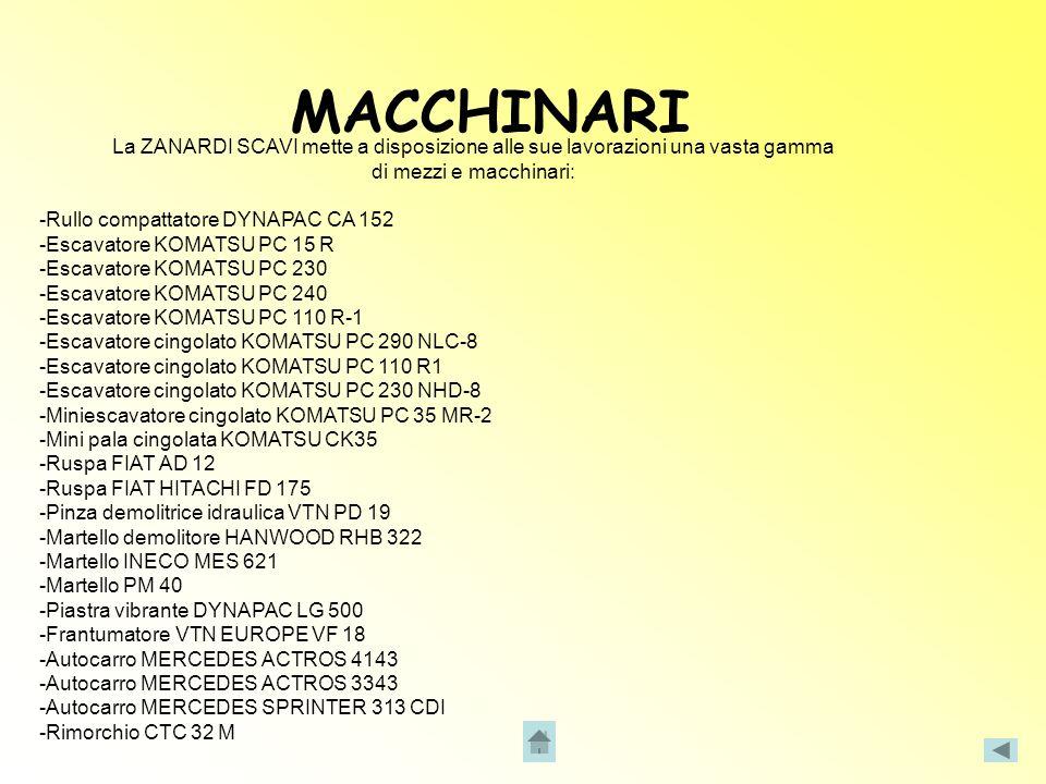 MACCHINARILa ZANARDI SCAVI mette a disposizione alle sue lavorazioni una vasta gamma. di mezzi e macchinari: