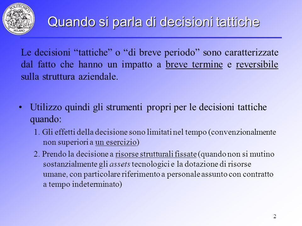 Quando si parla di decisioni tattiche