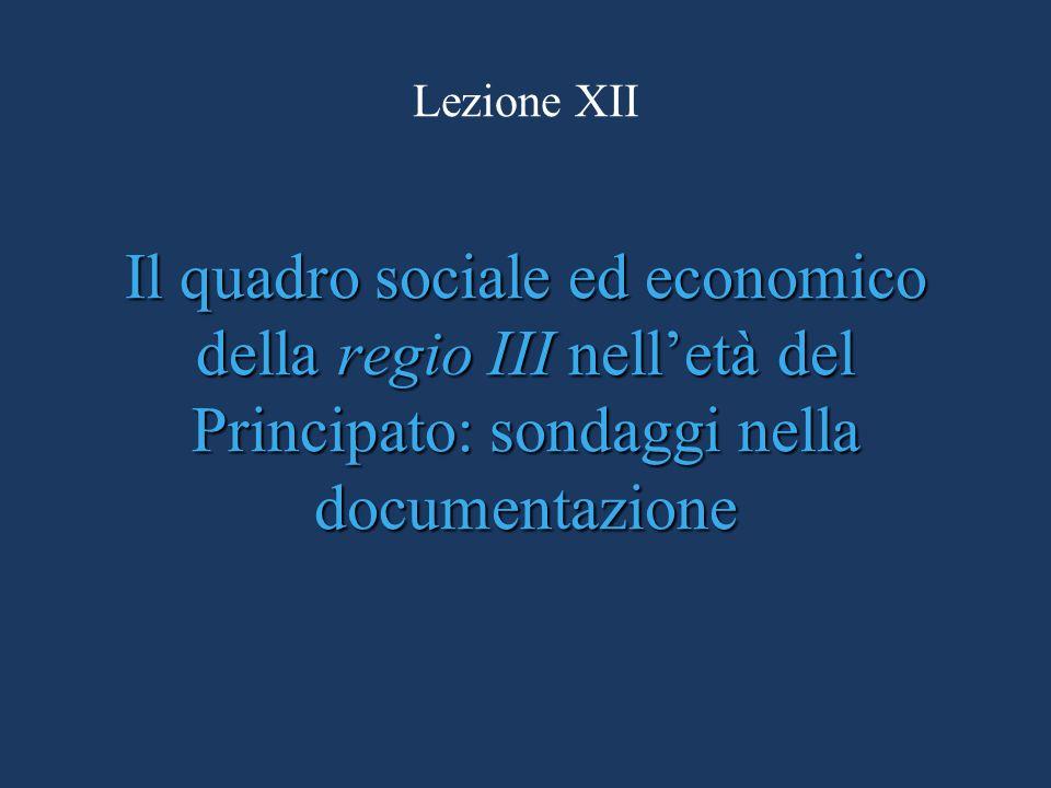 Lezione XII Il quadro sociale ed economico della regio III nell'età del Principato: sondaggi nella documentazione.