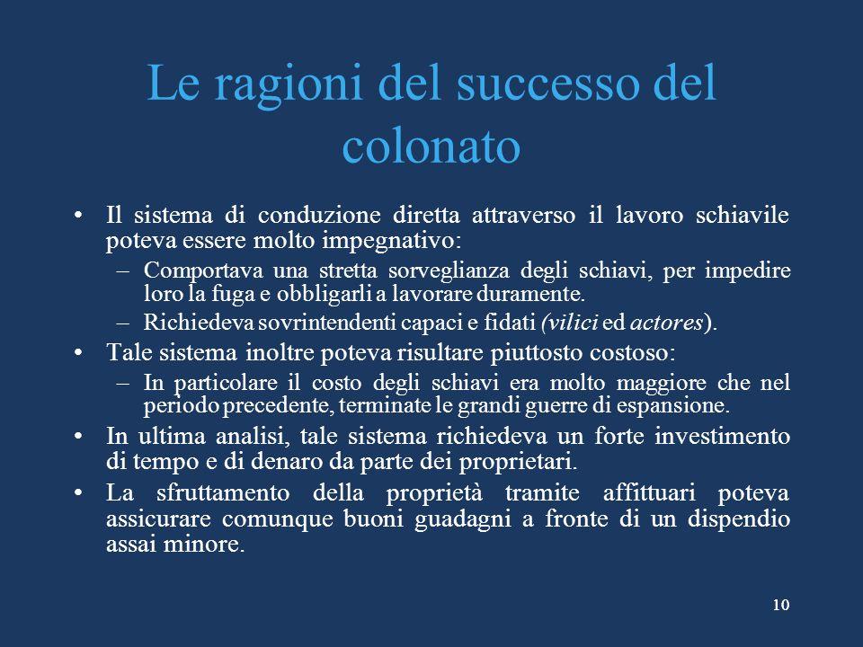 Le ragioni del successo del colonato
