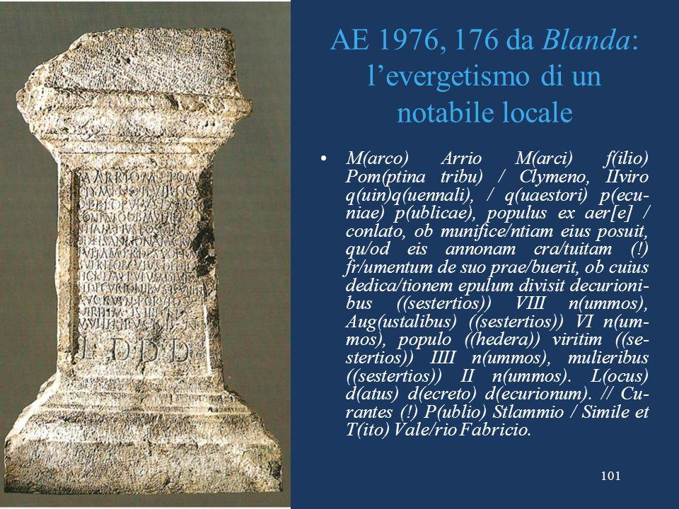 AE 1976, 176 da Blanda: l'evergetismo di un notabile locale