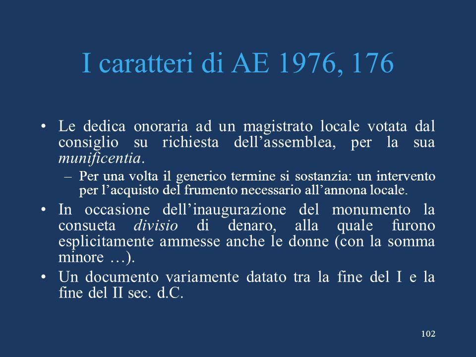 I caratteri di AE 1976, 176 Le dedica onoraria ad un magistrato locale votata dal consiglio su richiesta dell'assemblea, per la sua munificentia.