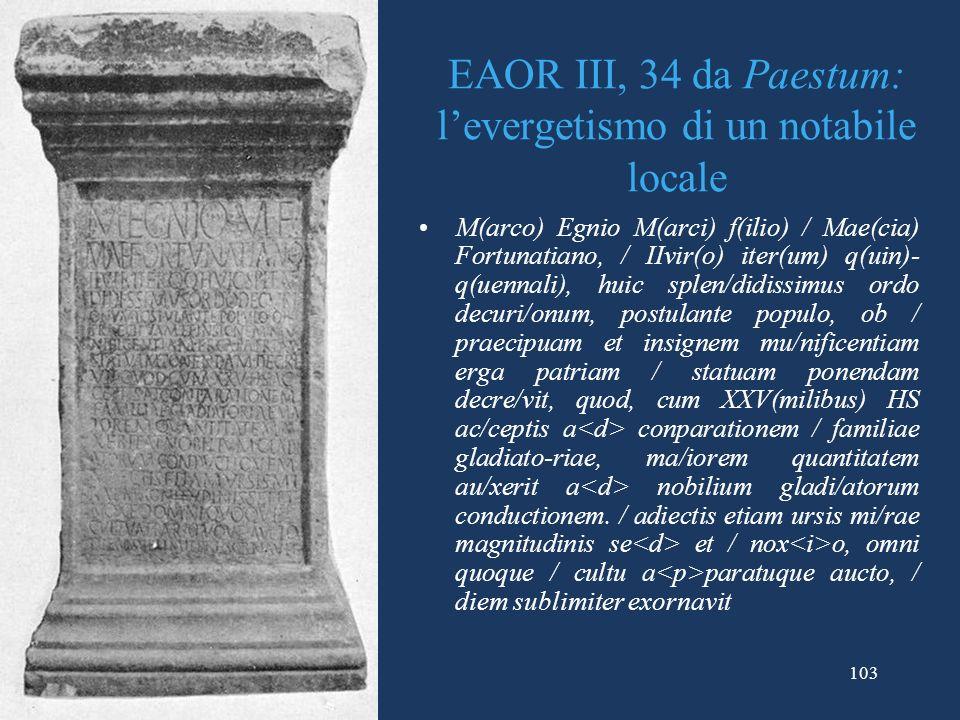EAOR III, 34 da Paestum: l'evergetismo di un notabile locale