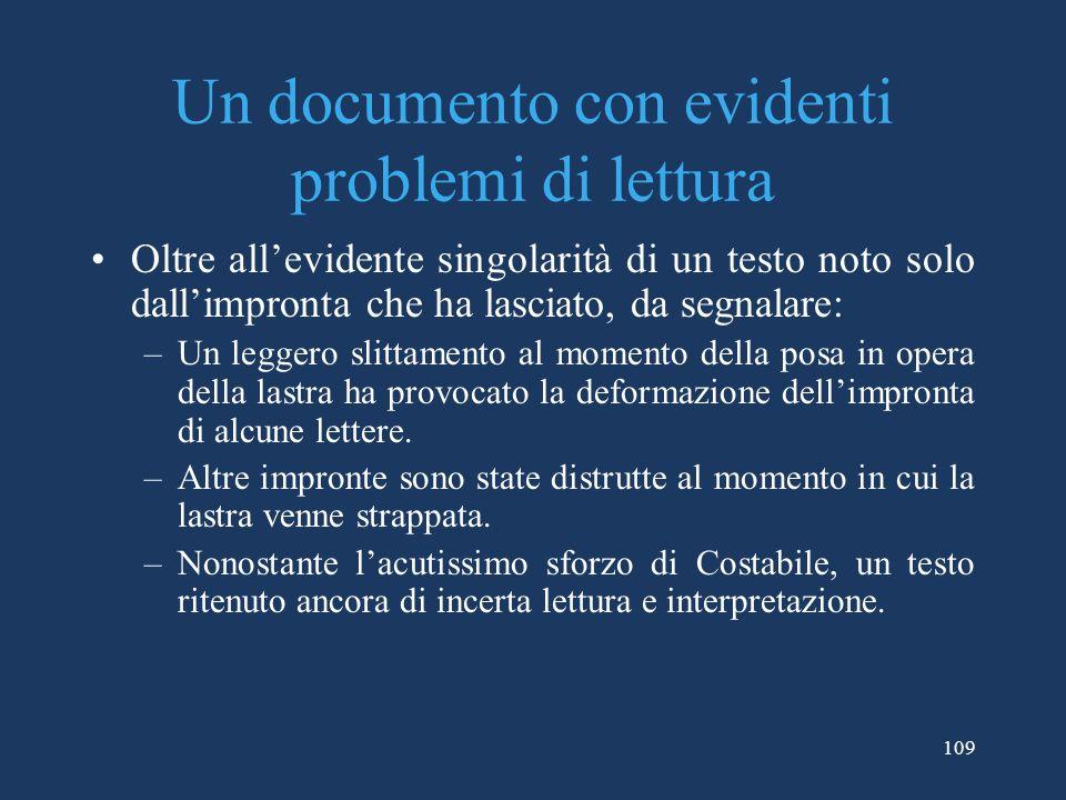 Un documento con evidenti problemi di lettura