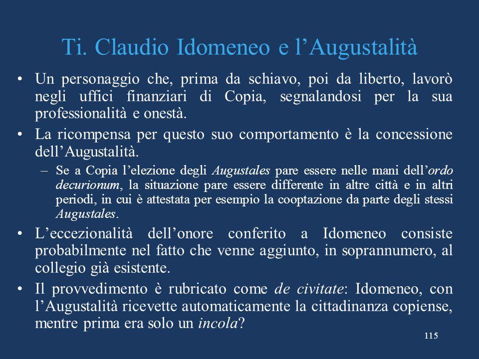Ti. Claudio Idomeneo e l'Augustalità