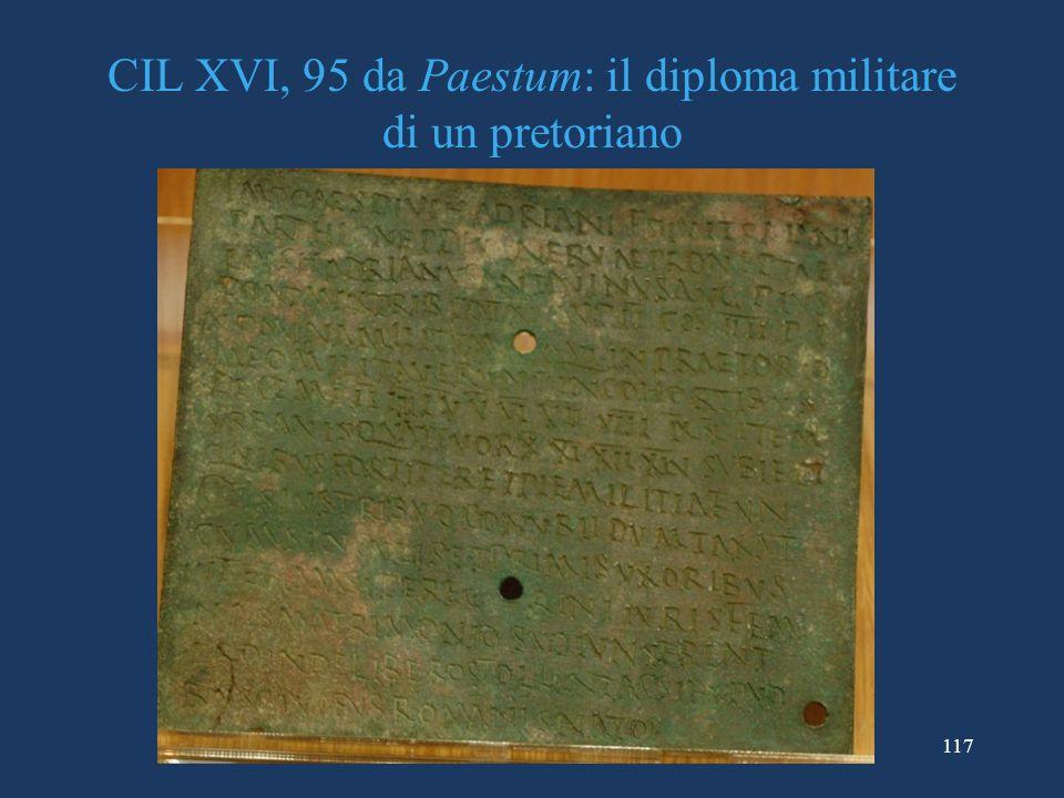 CIL XVI, 95 da Paestum: il diploma militare di un pretoriano
