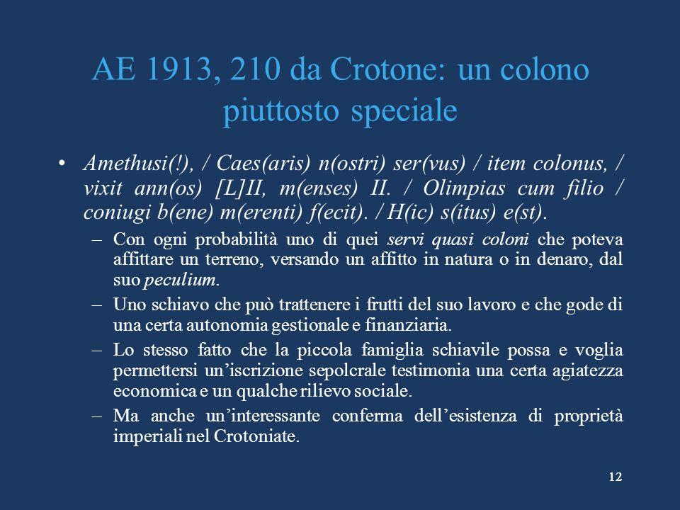 AE 1913, 210 da Crotone: un colono piuttosto speciale