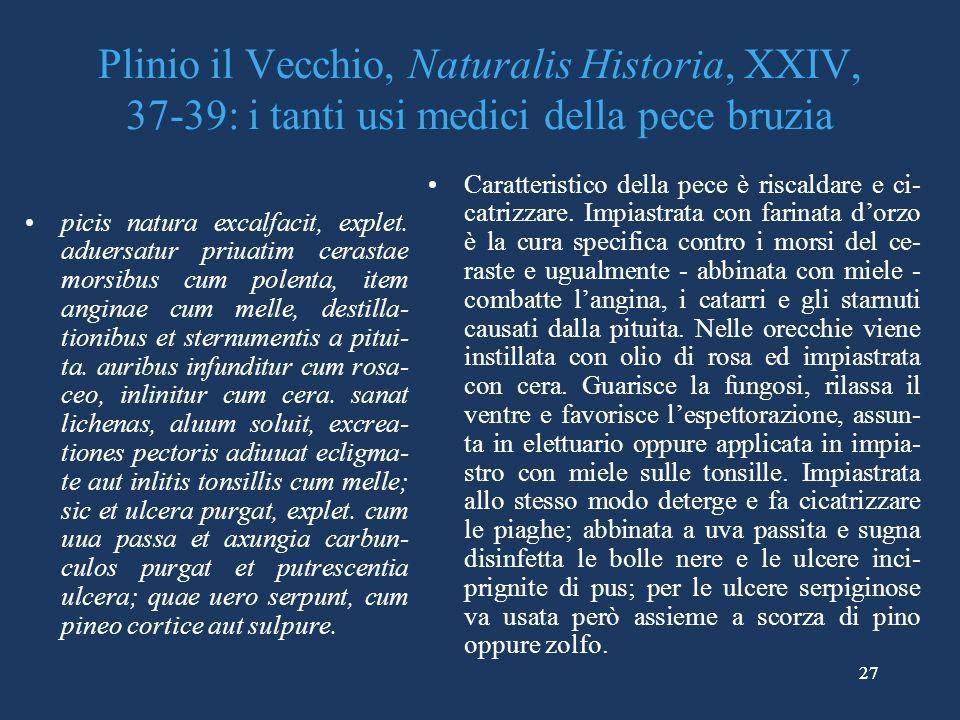 Plinio il Vecchio, Naturalis Historia, XXIV, 37-39: i tanti usi medici della pece bruzia