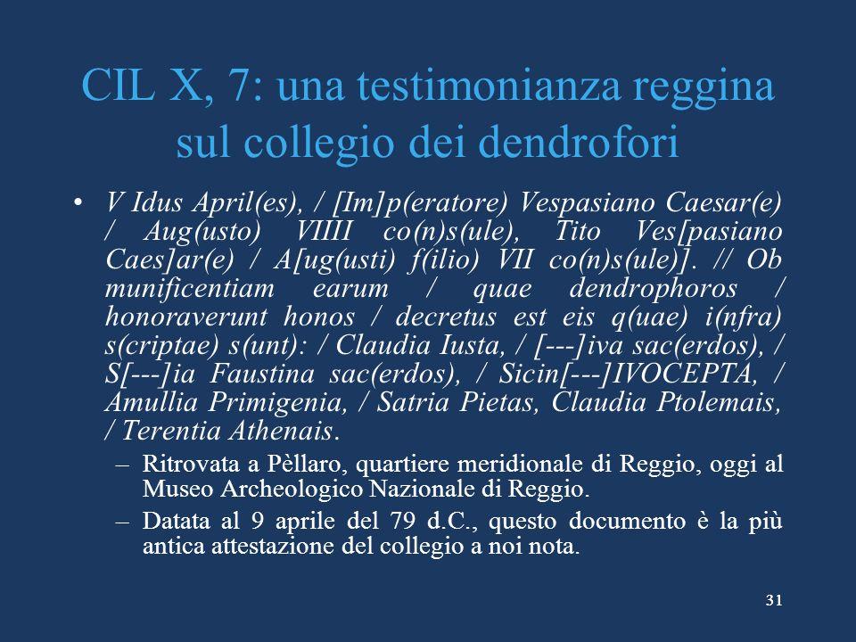 CIL X, 7: una testimonianza reggina sul collegio dei dendrofori