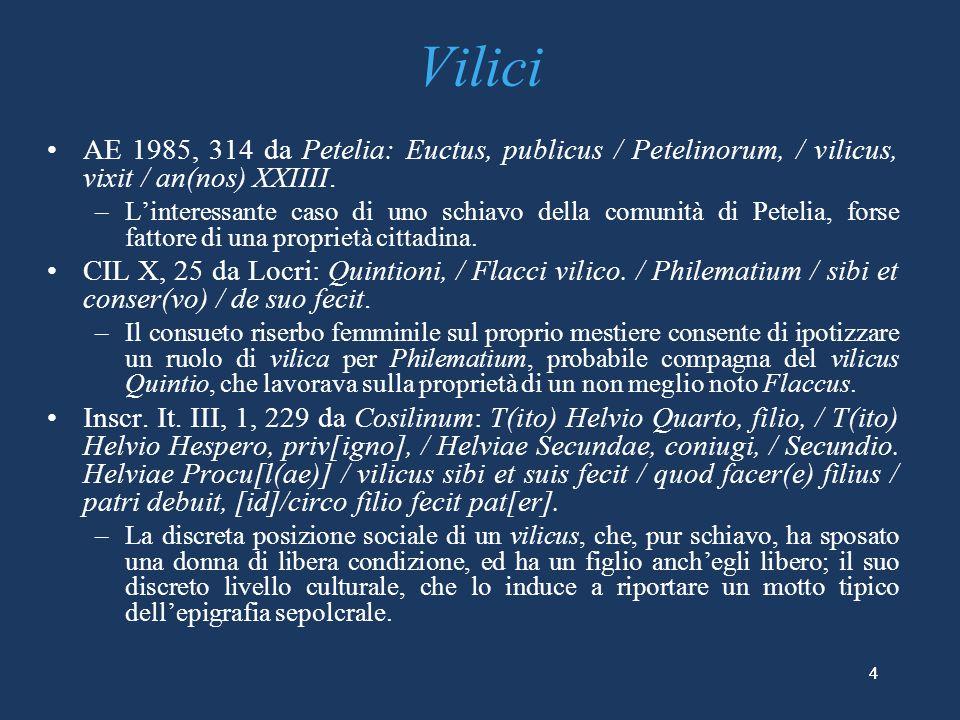Vilici AE 1985, 314 da Petelia: Euctus, publicus / Petelinorum, / vilicus, vixit / an(nos) XXIIII.