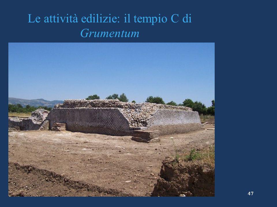 Le attività edilizie: il tempio C di Grumentum