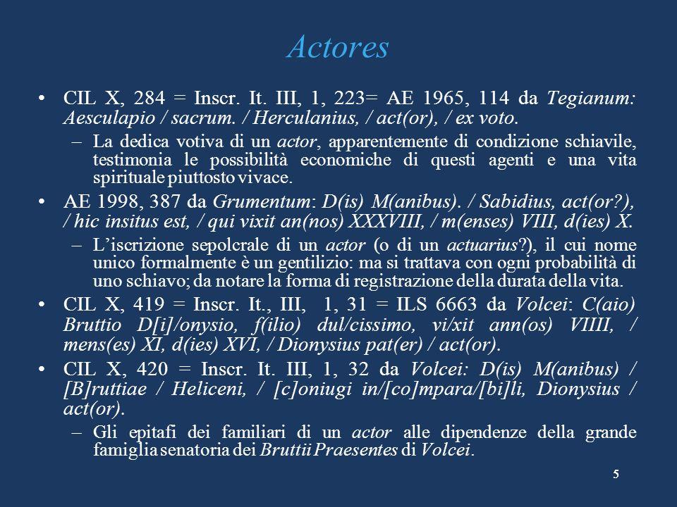 Actores CIL X, 284 = Inscr. It. III, 1, 223= AE 1965, 114 da Tegianum: Aesculapio / sacrum. / Herculanius, / act(or), / ex voto.